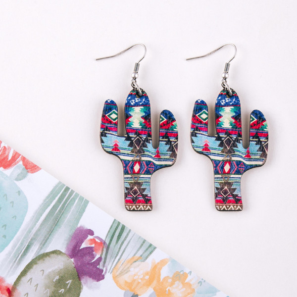 """Wood inspired cactus earrings featuring western print pattern details. Approximately 2"""" in length."""