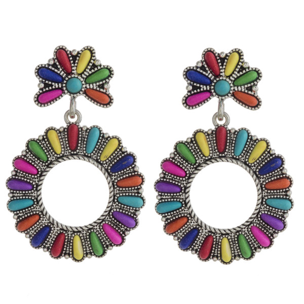 """Western style drop earrings with natural stone details. Approximately 2"""" in length."""