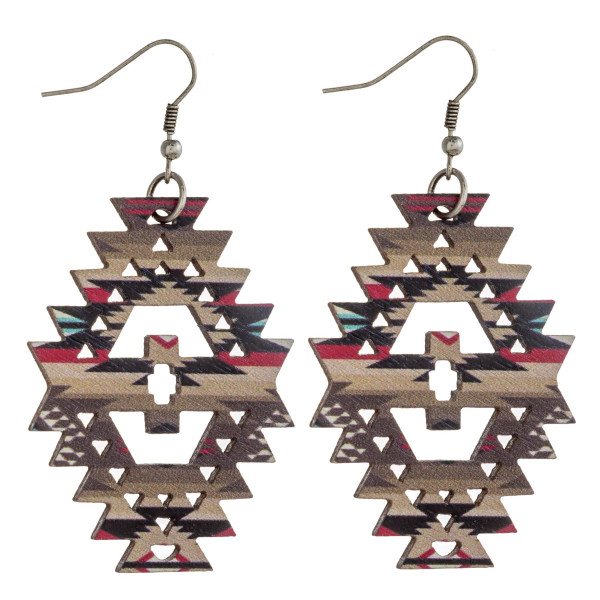 """Wood inspired native earrings with western pattern details. Approximately 2.5"""" in length."""