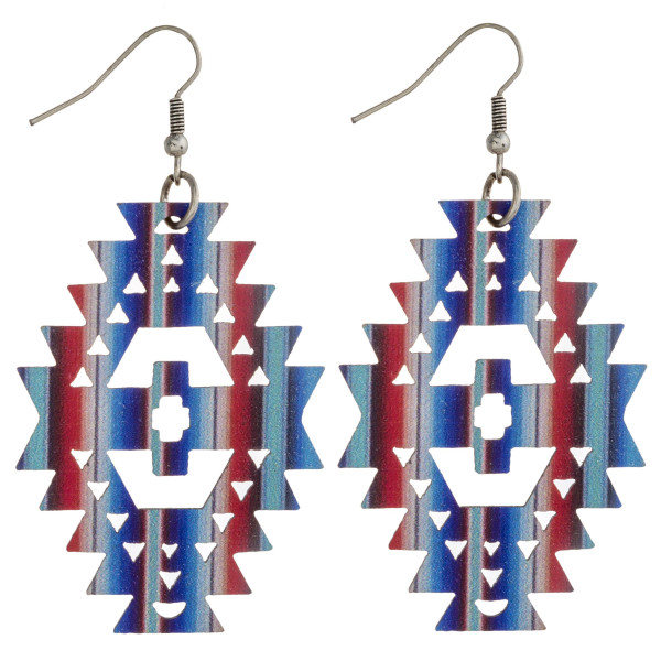 """Wood inspired native earrings with multicolor stripe details. Approximately 2.5"""" in length."""