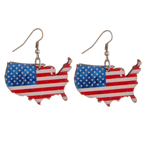 """Wood inspired USA earrings. Approximately 1.5"""" in length."""