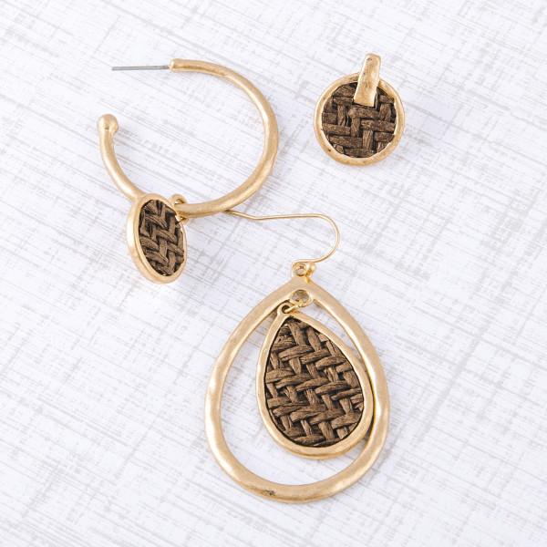 "Raffia woven inspired drop stud earrings. Approximately .5"" in length."