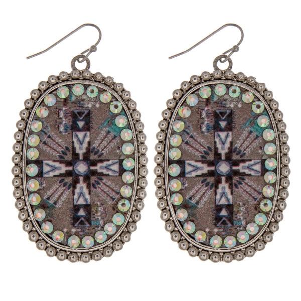 Wholesale metal drop earrings faux leather cross print center detail rhinestone