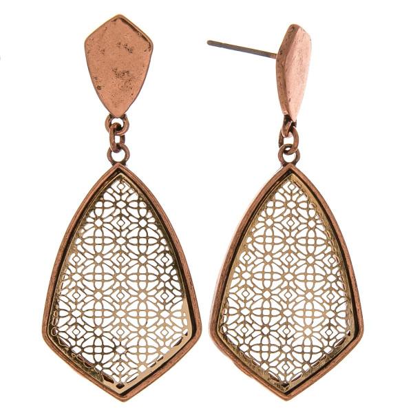 Wholesale metal drop earrings filigree inspired center details stud post