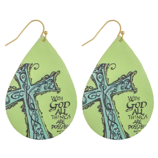 "Faux leather teardrop earrings with ""With God All Things Are Possible"" inspiring message. Approximately 2"" in length."