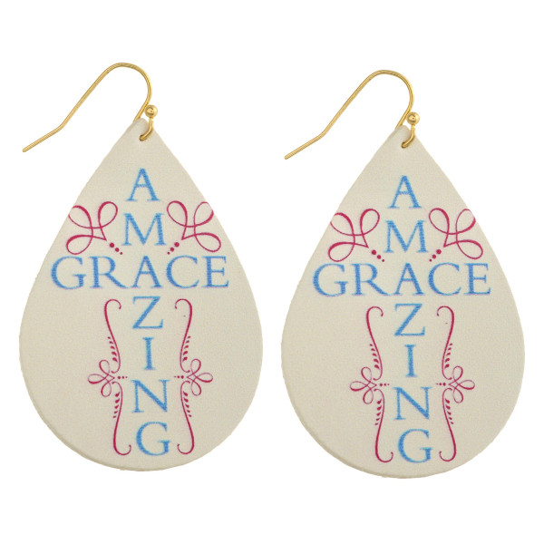 "Faux leather teardrop earrings with ""Amazing Grace"" inspiring message. Approximately 2"" in length."