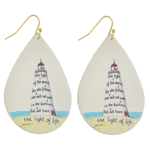 "Faux leather teardrop earrings with ""The Light of Life"" inspiring message. Approximately 2"" in length."