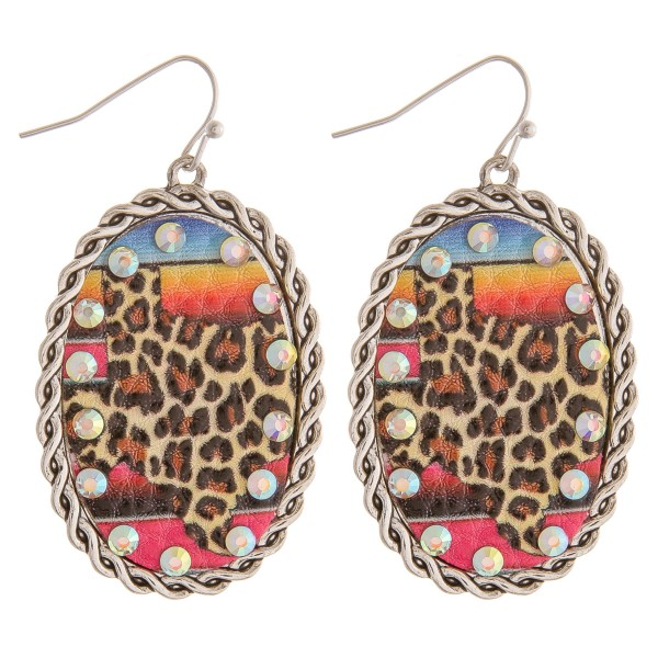 """Faux leather Texas state leopard printed serape rhinestone metal drop earrings.   - Approximately 2.5"""" in length"""