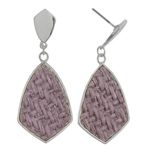 """Raffia rattan woven drop earrings. Approximately 1.5"""" in length."""