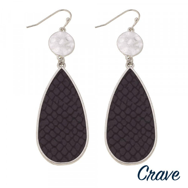 """Metal teardrop earrings featuring faux leather snakeskin details with a silver metal accent. Approximately 2.5"""" in length."""