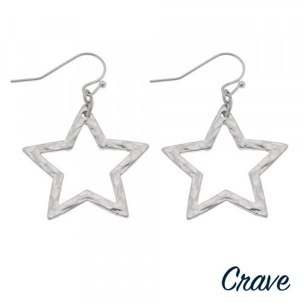 "Metal star drop earrings. Approximately 1"" in length."