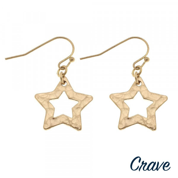 "Metal star drop earrings. Approximately .5"" in length."