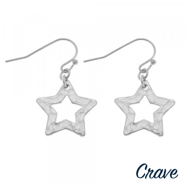 "Metal star drop earrings. Approximately .5"" in length."