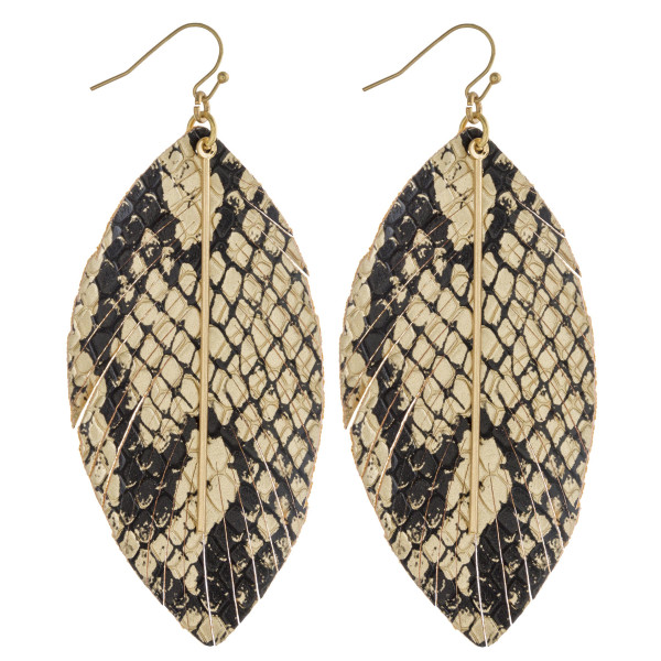 Wholesale faux leather feather inspired earrings metallic snakeskin details gold