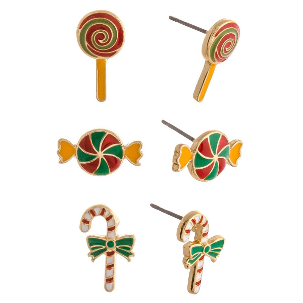 "Christmas stud earring set featuring three pairs with candy, candy cane adn lollipop enamel details. Approximately .5"" in size."