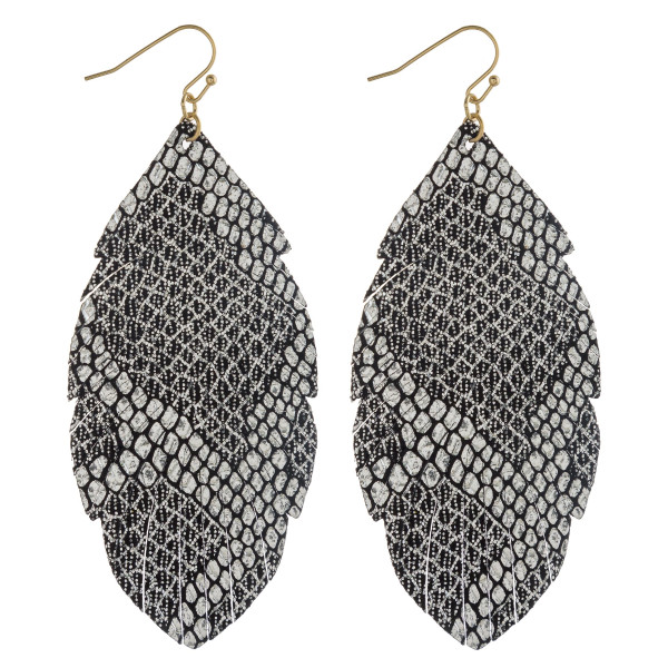 Wholesale metallic faux leather snakeskin feather earrings