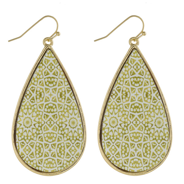 "Wood inspired geometric teardrop earrings. Approximately 2.5"" in length."