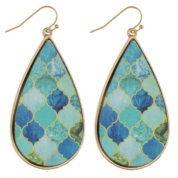 """Wood inspired geometric teardrop earrings. Approximately 2.5"""" in length."""