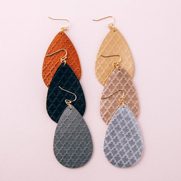"Metallic faux leather geometric teardrop earrings. Approximately 3"" in length."
