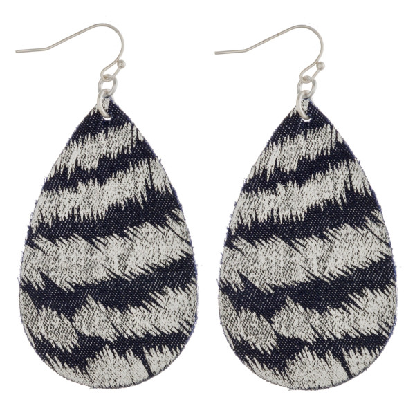 """Fabric like teardrop earrings with silver metallic accents. Approximately 2.5"""" in length."""