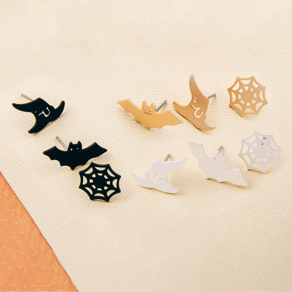 Halloween stud earring set featuring three pairs with spiderweb, bat and witch hat details. Approximately 1cm in size.