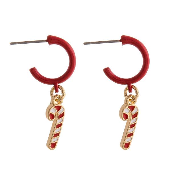 """Enamel coated candy cane huggie open hoop earrings.   - Approximately 1"""" in length"""