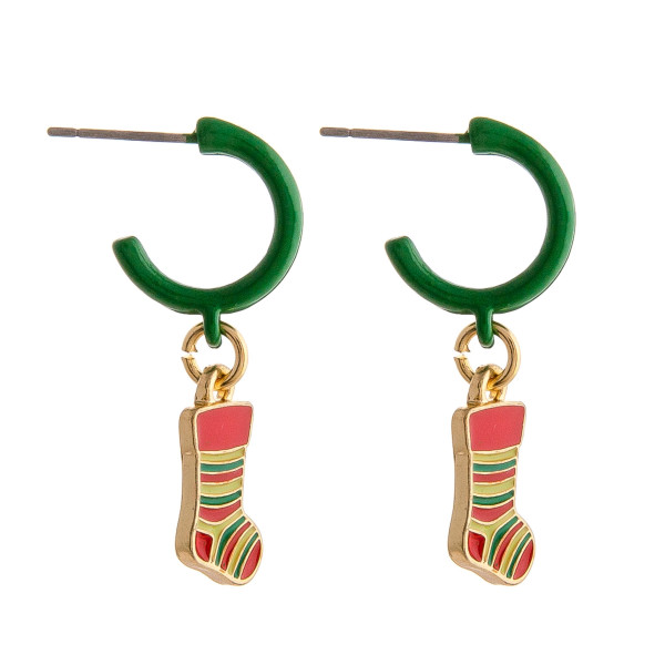 "Enamel coated hoop earring featuring a stocking accent. Approximately 1"" in length."