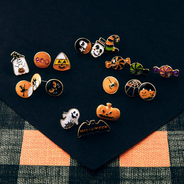 Halloween stud earring set featuring three pairs with witch hat, rip and skull enamel details. Approximately 1cm in size.