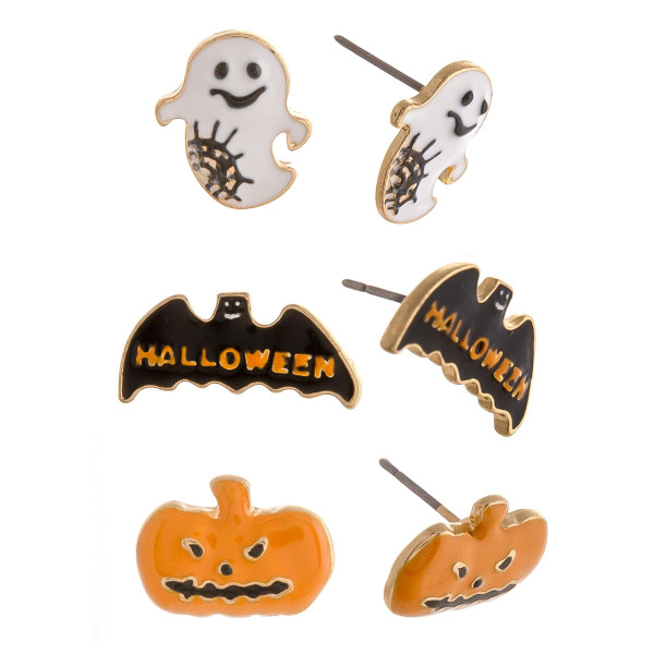 "Halloween stud earring set featuring three pairs with ghost, bat and pumpkin enamel details. Approximately .5"" in size."