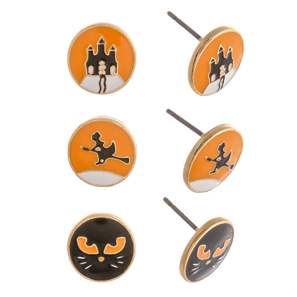 Halloween stud earring set featuring three pairs with witch, cat and haunted house enamel details. Approximately 1cm in size.