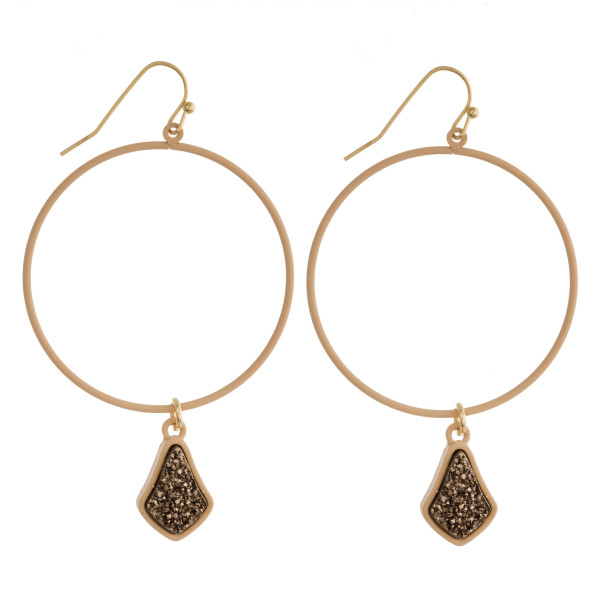 """Round druzy dangle earrings. Approximately 2.5"""" in length."""