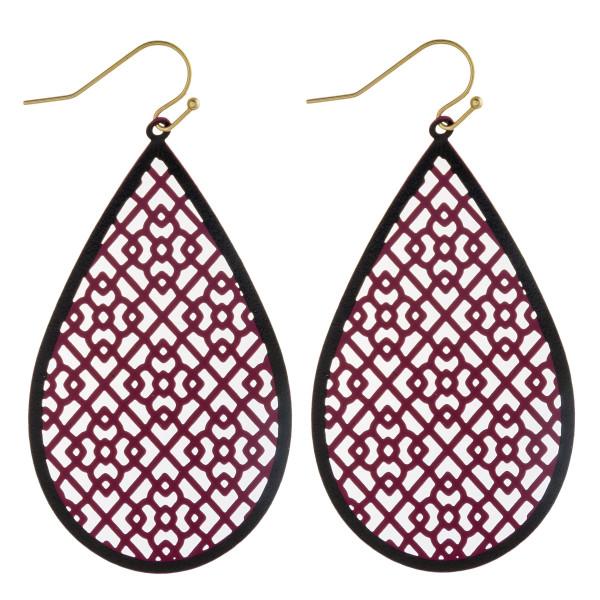 "Long filigree inspired teardrop earrings. Approximately 2.5"" in length."