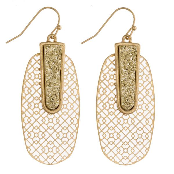 """Filigree druzy bar drop earrings. Approximately 2"""" in length."""