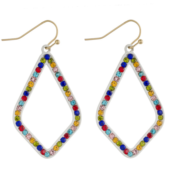"""Multicolor crystal macaroon earrings. Approximately 1.5"""" in length."""