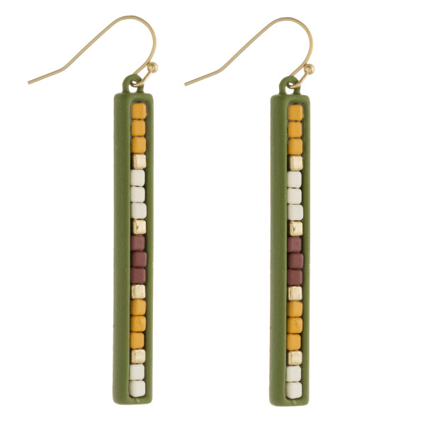 """Color block bar earrings. Approximately 2"""" in length."""