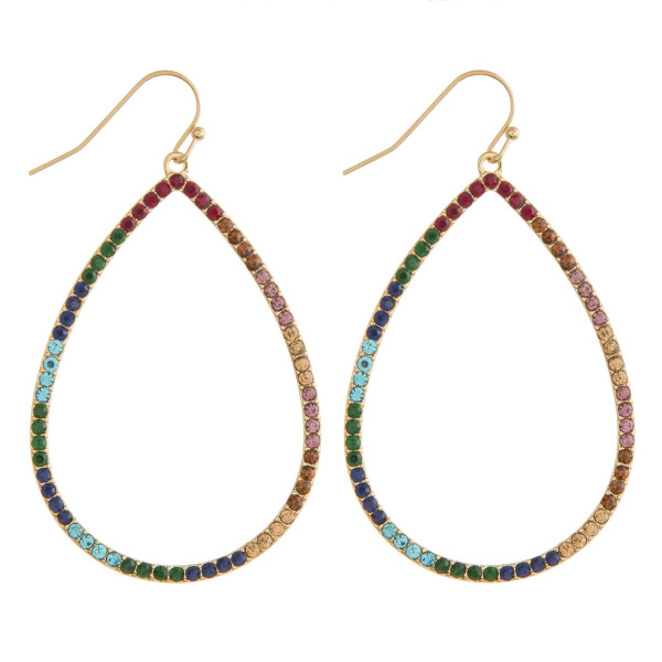 """Teardrop earrings featuring multicolor cubic zirconia details. Approximately 2.5"""" in length."""
