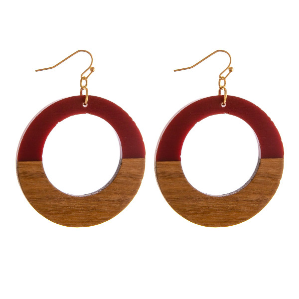 "Resin and wood inspired disc earrings. Approximately 2"" in diameter."