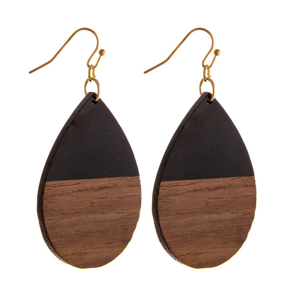 "Resin and wood inspired teardrop earrings. Approximately 2.5"" in length."