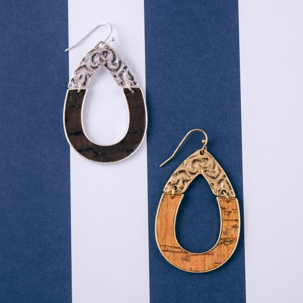 """Metal plated teardrop earrings with cork inspired details. Approximately 2"""" in length."""