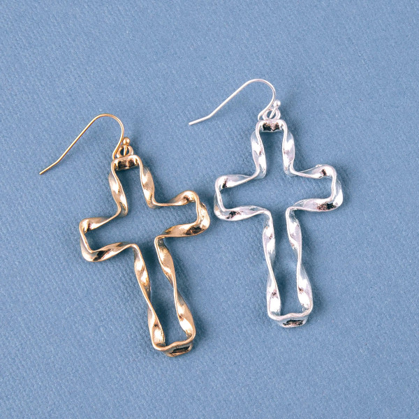 "Twisted metal cross earrings. Approximately 2"" in length."