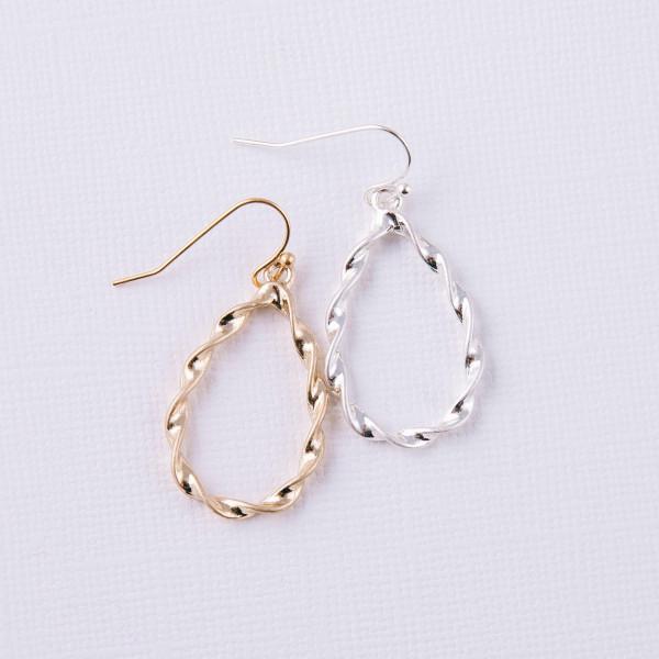 """Twisted metal teardrop earrings. Approximately 1.5"""" in length."""
