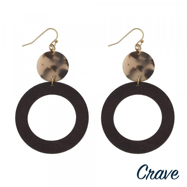 "Wood inspired drop earrings featuring resin accents. Approximately 2.5"" in length."