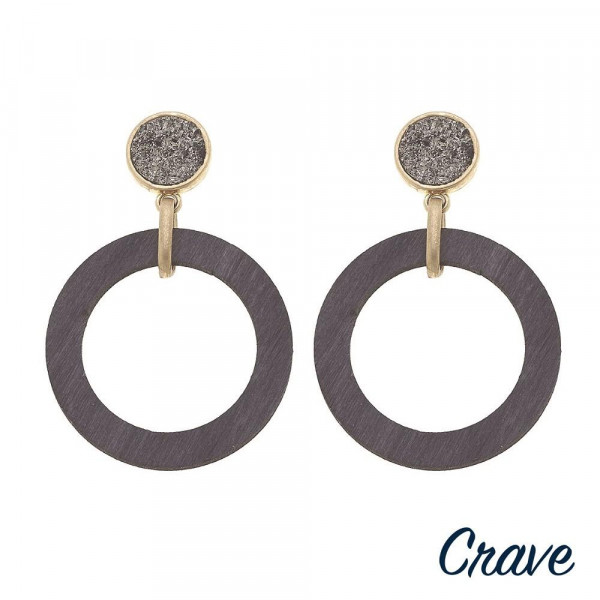 "Druzy wood dangle earrings. Approximately 2"" in length."