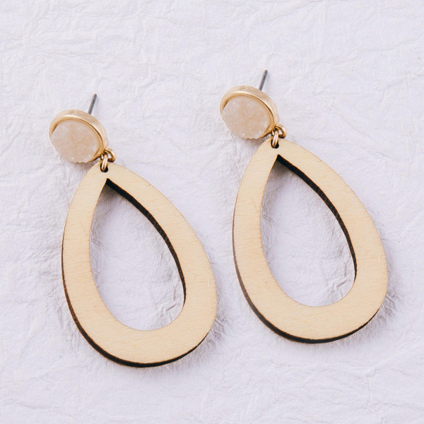 """Wood inspired teardrop earrings featuring a druzy stud accent. Approximately 2"""" in length."""