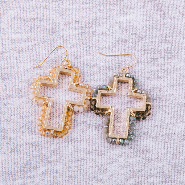 "Beaded cross earrings. Approximately 2"" in length."