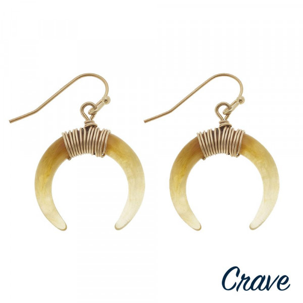 """Resin crescent earrings with wire wrapped details. Approximately 1"""" in diameter."""
