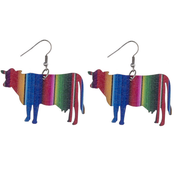 "Serape cow laser cut wood earrings. Approximately 1.5"" in length."
