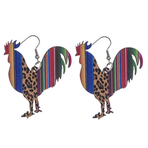"Leopard print serape rooster laster cut wood earrings. Approximately 2"" in length."