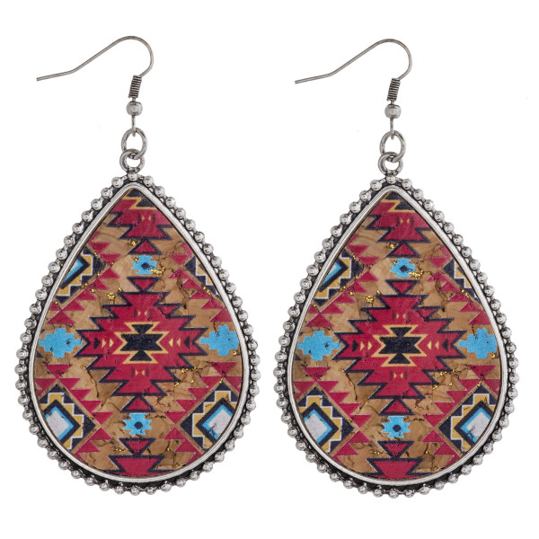 """Faux cork tribal print encased teardrop earrings.   - Approximately 3"""" in length"""