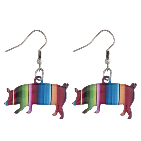 "Enamel coated serape pig earrings. Approximately 1"" in length."